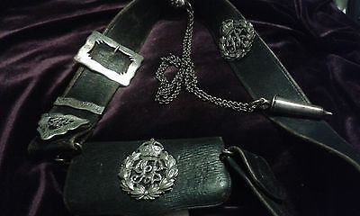 Officer's Imperial Indian Police Cross Belt & Pouch, Whistle and Chain, George V