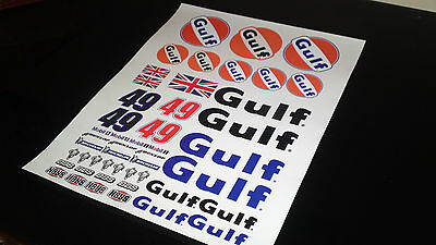 Gulf  rc decals stickers 1/10 ,1/8 glossy vinyl high resolution a4 size