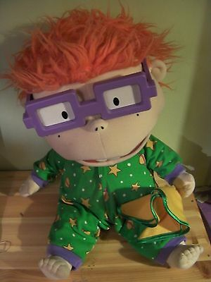 "Vintage Giant 17"" Rugrats Chucky Plush Doll With Blanket And Glasses"