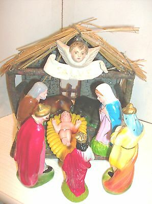 Old portuguese nativity figurines - nativity hut with holy family and magi kings