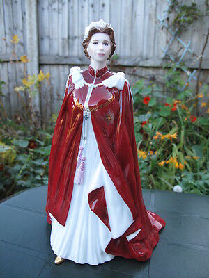 Royal Worcester Pottery Figure Queen Elizabeth Ii Coronation Robes 80Th Birthday