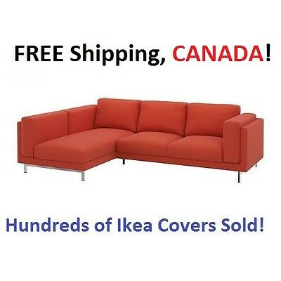IKEA NOCKEBY Loveseat with Chaise LEFT Cover Slipcover RISANE ORANGE New in Box!