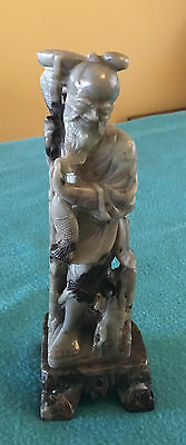 Antique Chinese carved stone statue of fisherman