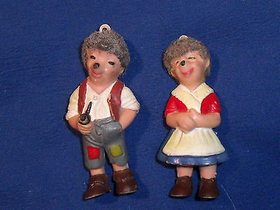 "RARE Vintage Pair 2 1/2"" Rubber Hedgehog German farmer"