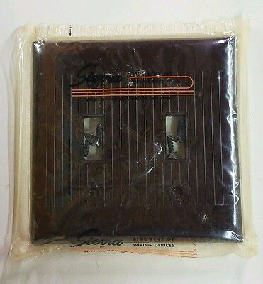 18 NOS Vtg Art Deco Double Gang Bakelite Brown Ribbed Sierra Switch Plate Cover