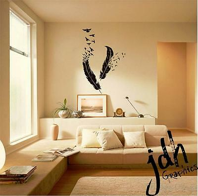 PAIR OF FEATHERS Vinyl Decal Sticker Wall Art Bedroom Living Room ...