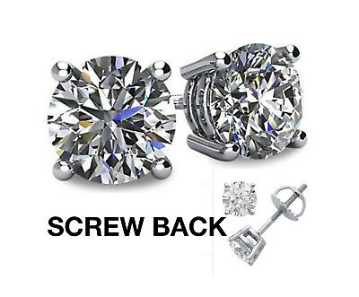 2CT Created Diamond 14K White Gold Round Cut Screw-back Stud Earrings