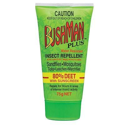 Bushman Plus Dry Gel 75g Insect Repellent Water Resistant 80% Deet Sunscreen