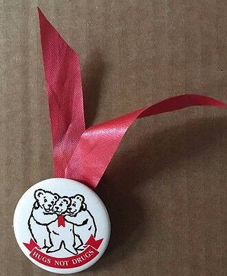 Vintage 1980's Hugs Not Drugs 1.5x1.5 Inch Button Three Bears Red Ribbons Rare