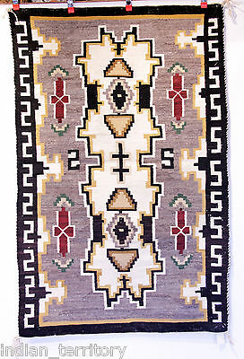 Antique 3x5 Navajo Crystal Rug; Grey Field ,Green, Red, Tan, Carded Grey c.1930