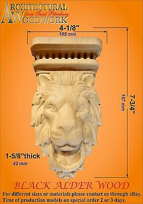 Hand Carved Solid Wood Leaf Pilaster Corbel, Fireplace,Table, with Lion Head