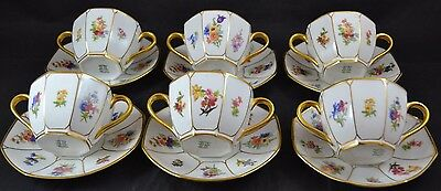 Guerin Limoges Set of 6 Cream Soup Cups Saucers * Sided Paneled Dresden Flowers