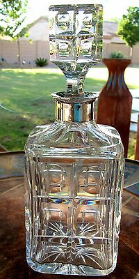 Antique German Crystal Decanter Sterling 830 S Collar Darmstadt Marking