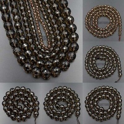 """Faceted Natural Smoky Quartz Gemstone Round Spacer Beads 15.5"""" 4mm 6mm 8mm 10mm"""