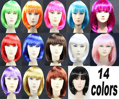 Womens Short Straight BOB Wig Wigs Sleek Hair with bang Synthetic Cosplay Party