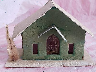Vintage Cardboard Putz Houses Japan Christmas Brush Tree Free Ship!