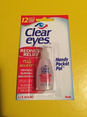 5ct CLEAR EYES DROPS REDNESS RELIEF 0.2 OZ.6 ML EXP( 2018 )UP TO 12 HOURS
