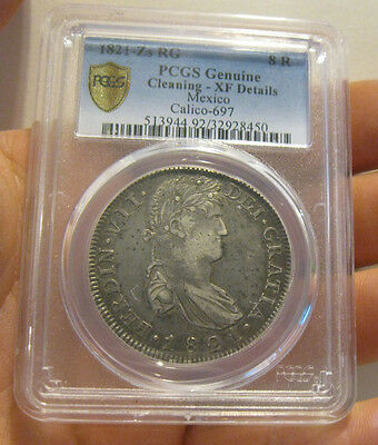 Mexico - 1821 ZsRG Silver 8 Reales (PCGS XF Details)