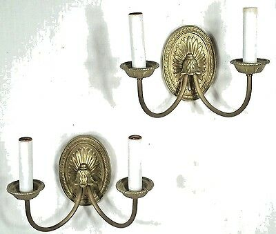 Pair Of Mid Century Classical Regency Double Arm Oval Paterae Back Sconces