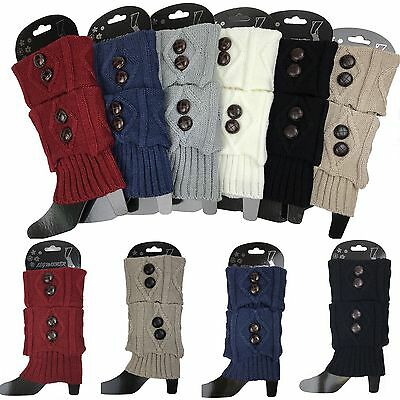 Women Short Crochet Boot Socks Cuffs Topper Winter Cable Knit Button Leg Warmers