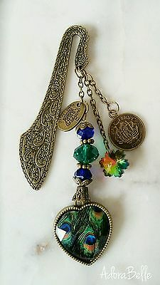 PEACOCK HEART Antique Gold Metal Bookmark Gift Crystal Beaded Book Accessory
