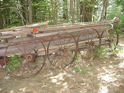 "4 Large Antique Cast Iron Wheels 32"" Farm Implement Wagon Industrial Steam Punk"