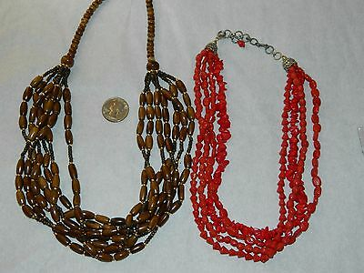 Lot 2  Multi Strand  Brown Red Glass Beaded Necklace w/ Ethnic Flair