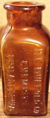 Antique Amber Bottle H K Mulford Chemists Philadelphia
