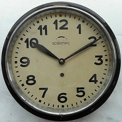 Antique Scientific Wall Clock working condition wood case bezel made of Metal