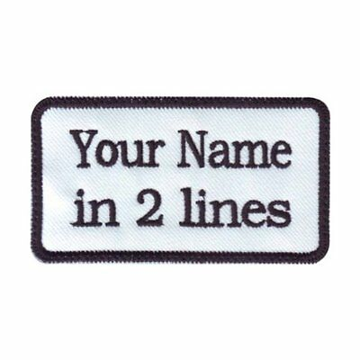 """Rectangular Custom Embroidered (5"""" x 3"""") Name  Patch Motorcycle Biker Sew on"""