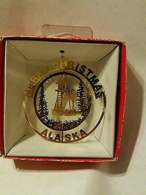 Merry Christmas  Alaska Brass Christmas Ornament