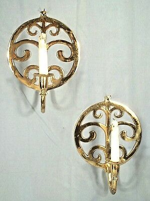 Pair Of Mid Century Modern Fleur De Lis Solid Brass Candle Sconces