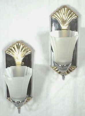 Pair Of Mid Century Modern Chrome+Glass Sconces With Brass Shells