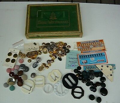 Old baize covered cigar box full of buttons, buckles, hooks & stuff