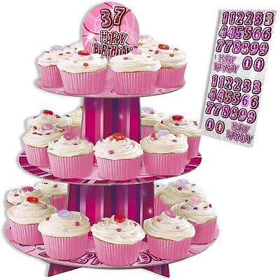 Happy Birthday – Muffin-Etagere in knallig Pink, 3 Ebenen