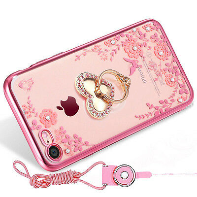 Bling Metal Ring Stand Soft Back Case Shockproof Clear Cover for iPhone 8 8 Plus