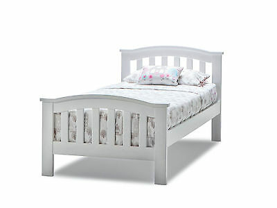Curved Federation White Single Timber Bed Frame with for Kids Boys and Girls
