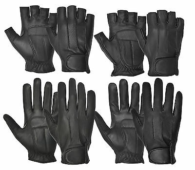 Real Leather Finger Less Full Finger Driving Riding Gloves Retro Style Classic