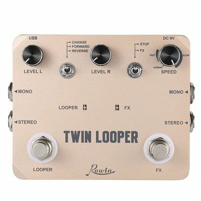 Rowin TWIN LOOPER Guitar Effect Pedal Mono Stereo Input/Output  Sound Recording