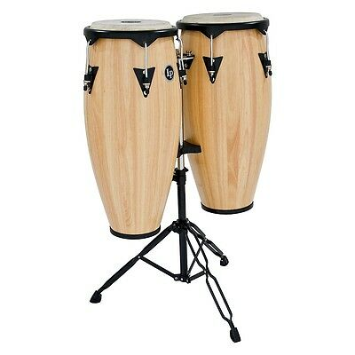 LP City Wood Conga Set w/ Double Stand Natural Wood 10 Inch & 11 Inch
