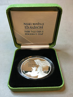 """Latvia 5 Euro """"hedgehog's Coat"""" Silver Coin With Original Certificate Proof"""