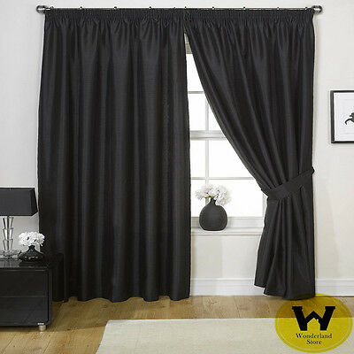 100% Blockout Curtain Panel Pencil Pleat  3 Layers Pure Fabric 4 Width Size  1Pc