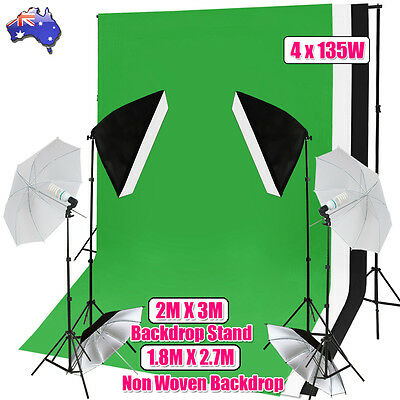 2700W Photo Studio Softbox Continuous Umbrella Lighting 3pcs Backdrop Stand Kit