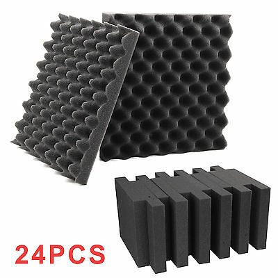 Set of 24 Tiles Acoustic Foam Treatment Sound Proofing Egg Profile Studio Grey