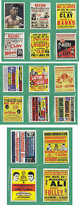 Cassius Clay ( Muhammad Ali ) the early jahre fight poster Trading Card Set aka