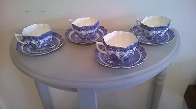 Vintage 1920-30's Melba China Blue & White  Willow Pattern 4 Cups and Saucers