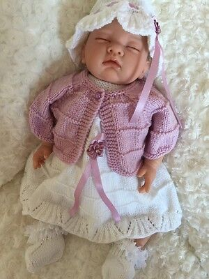 """New:Pretty Knitted 5 Piece Set In Blush & White For 20"""" Reborn Baby Girl"""