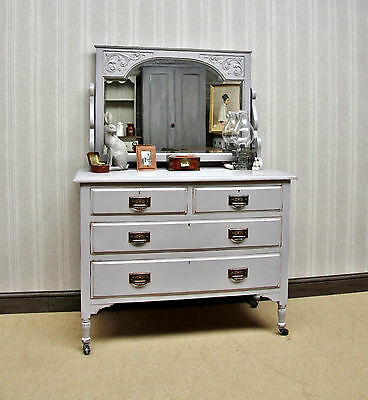 Antique Painted Grey Dressing Table & Mirror, Quality Shabby chic bedroom piece