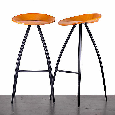 Vintage bar stools by Design Group Italia. Steel and beech ply. Magis Italy 1994