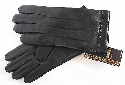 Guantes negros 100% PIEL Suave T. 7 1/2 hombre Leather Gloves Made Spain-NUEVOS